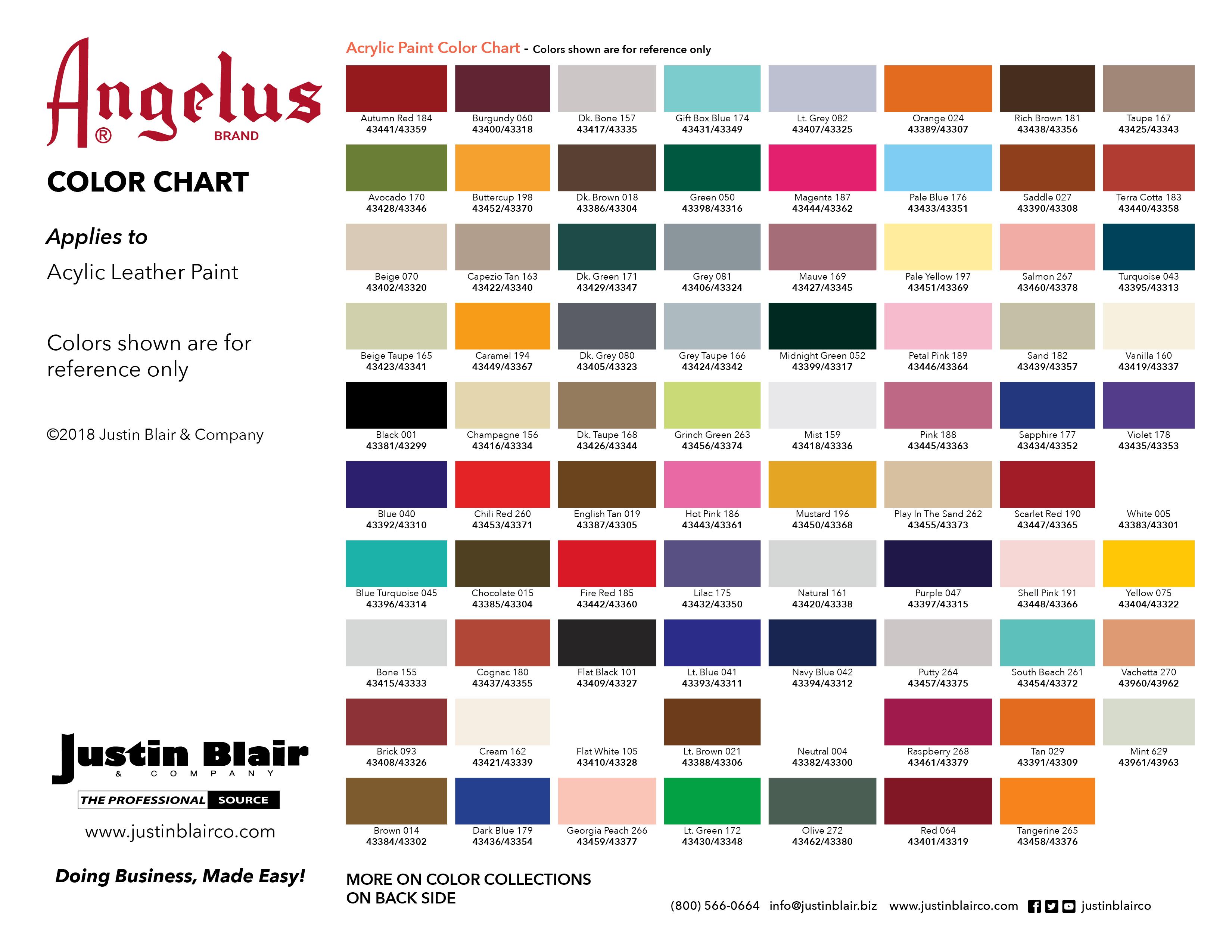 Angelus Color Chart – JB   Justin Blair & Company